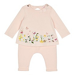 Baker by Ted Baker - Baby girls' light pink logo print top and hareem trousers