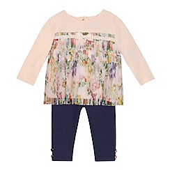 Baker by Ted Baker - Baby girls' light pink mesh pleated top and quilted leggings set