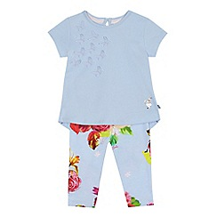 Baker by Ted Baker - Baby girls' light blue butterfly applique top and floral print leggings set