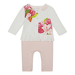 Baker by Ted Baker - Baby girls' white and pink floral print mock romper suit