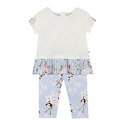 Baker by Ted Baker - Baby girls' white and blue pleated hem top and floral print leggings set