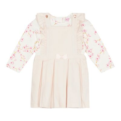 baker-by-ted-baker---baby-girls-light-pink-floral-print-pinafore-and-top-set by baker-by-ted-baker