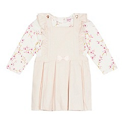 Baker by Ted Baker - 'Baby girls' light pink floral print pinafore and top set