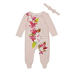 Baker by Ted Baker - Baby girls' pink floral print sleepsuit