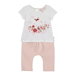 Baker by Ted Baker - Baby girls' white bunny floral print top and pink quilted leggings set