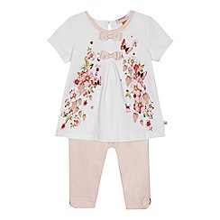 Baker by Ted Baker - 'Baby girls' off-white floral print top and leggings set