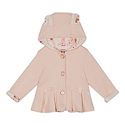 Baker by Ted Baker - Baby girls' light pink pleated hem hooded jacket