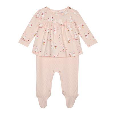 223de4b1cbb7f Baker by Ted Baker Baby girls  light pink bunny print mock romper ...