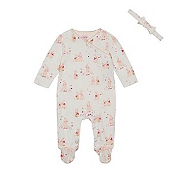Baker by Ted Baker - Baby girls' white bunny print sleepsuit and headband set
