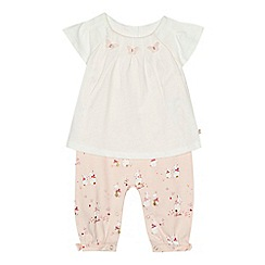Baker by Ted Baker - Baby girls' off-white and pink bunny print mock romper suit