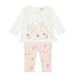 Baker by Ted Baker - Baby girls' off-white bunny print top and leggings set