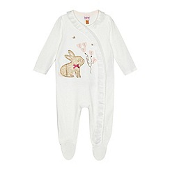 Baker by Ted Baker - Baby girls' white velour glitter bunny applique sleepsuit