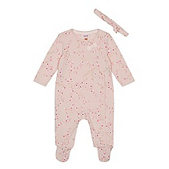 Baker by Ted Baker - Baby girls' light pink floral print sleepsuit and headband set