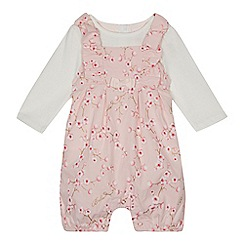 Baker by Ted Baker - Baby girls' light pink floral print romper suit and white top set