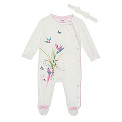 Baker by Ted Baker - 'Baby girls' white floral print long sleeve sleepsuit and headband set
