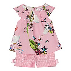 Baker by Ted Baker - 'Baby girls' pink floral print top and shorts set