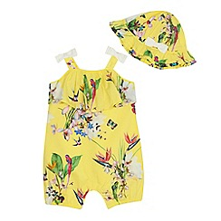 Baker by Ted Baker - 'Baby girls' yellow floral print romper suit and hat set