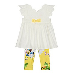 Baker by Ted Baker - 'Baby girls' white top and yellow floral print leggings set