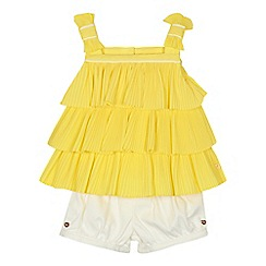 Baker by Ted Baker - 'Baby girls' yellow tiered plisse top and white shorts set