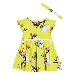 Baker by Ted Baker - Baby girls' yellow floral print jersey 'Oasis' dress and headband set