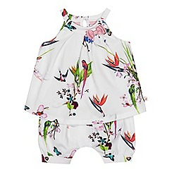 Baker by Ted Baker - 'Baby girls' white floral print top and bottoms set