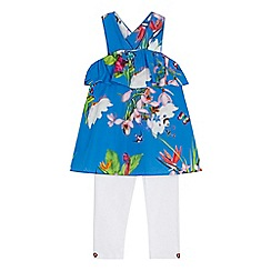 Baker by Ted Baker - 'Baby girls' blue floral print tunic and white leggings set