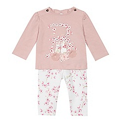Baker by Ted Baker - 'Baby girls' pink floral logo top and leggings set