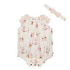 Baker by Ted Baker - 'Baby girls' pink bunny print romper suit with a headband