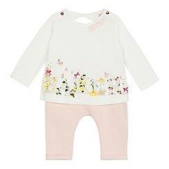 Baker by Ted Baker - 'Baby girls' pink logo print top and leggings set