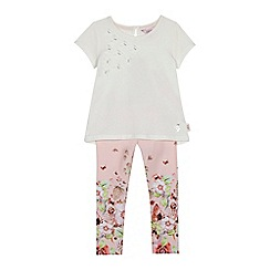Baker by Ted Baker - Girls' white butterfly applique top and pink floral print leggings set