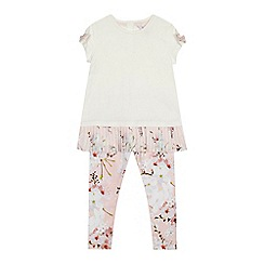 Baker by Ted Baker - Girls' white and pink pleated hem top and floral print leggings set