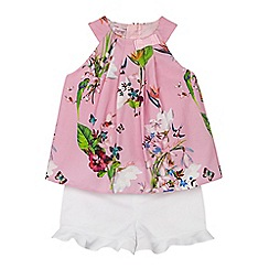 Baker by Ted Baker - Girls' pink floral print top and shorts set