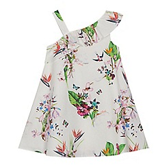 Baker by Ted Baker - 'Girls' white floral print asymmetric neck dress