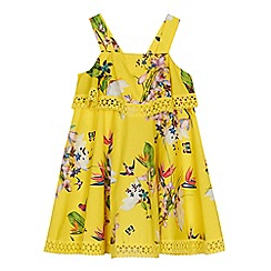 Baker by Ted Baker - 'Girls' yellow floral print lace trim dress