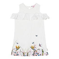 Baker by Ted Baker - 'Girls' white floral print cold shoulder dress