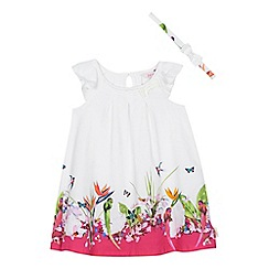 Baker by Ted Baker - 'Girls' white floral print dress and headband set