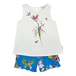 Baker by Ted Baker - Girls' white floral bird print sleeveless top and blue shorts set