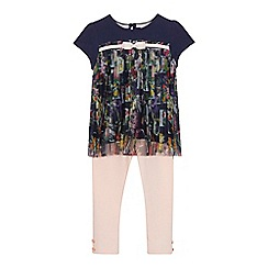 Baker by Ted Baker - 'Girls' navy and light pink floral print top and leggings set