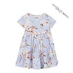 Baker by Ted Baker - Girls' blue floral print dress and headband set