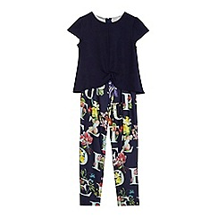 Baker by Ted Baker - Girls' navy cape floral print jumpsuit