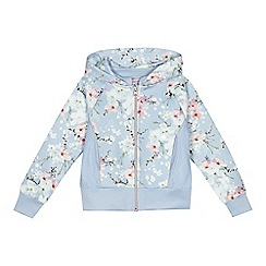 Baker by Ted Baker - Girls' blue floral print zip through sweatshirt
