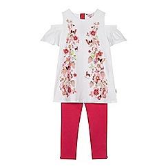 Baker by Ted Baker - 'Girls' light pink floral print top and leggings set