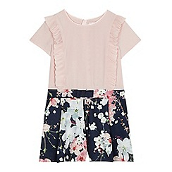 Baker by Ted Baker - Girls' pink and navy floral print playsuit
