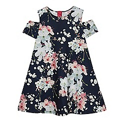 Baker by Ted Baker - Girls' navy floral print cold shoulder swing dress