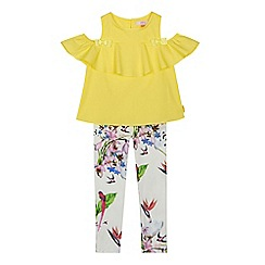 Baker by Ted Baker - Girls' yellow cold shoulder top and white floral leggings set