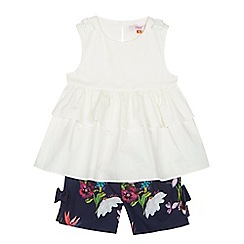 Baker by Ted Baker - Girls' white ruffle trim top and shorts set