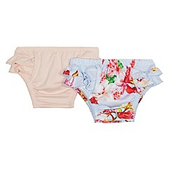 Baker by Ted Baker - Pack of two baby girls' light blue and pink frilled knickers