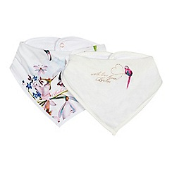 Baker by Ted Baker - Pack of two baby boys' white printed bibs