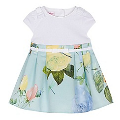 Baker by Ted Baker - 'Baby girls' light green rose print dress