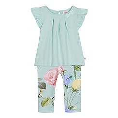 Baker by Ted Baker - Girls' pale green floral print top and bottoms set